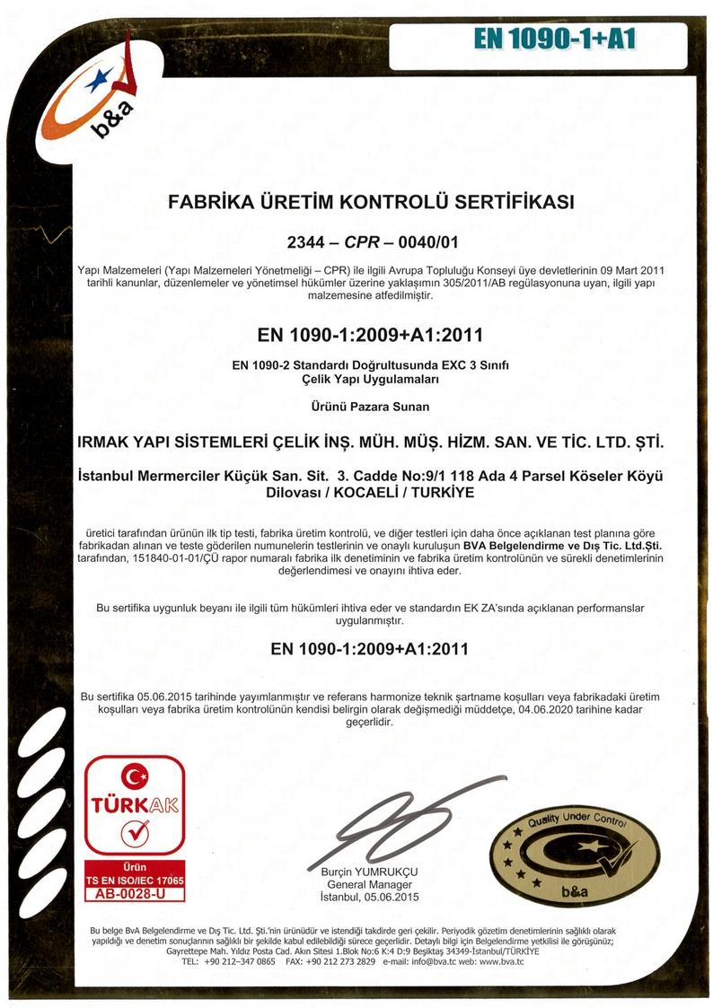sertifikalar EN 1090-1:2007+A1:2011