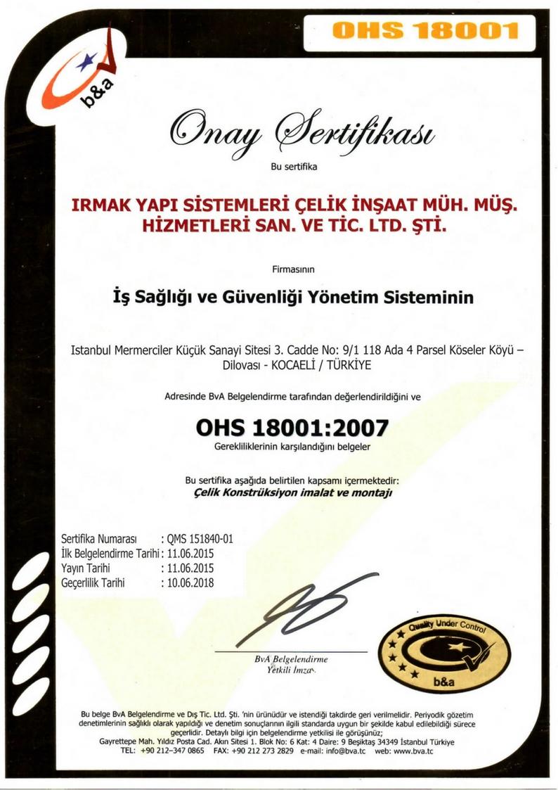 sertifikalar OHS 18001:2007